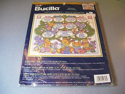 2000 Plaid Bucilla 42746 BABY Family Tree Cross Stitch KIT NIP Sealed Bears +