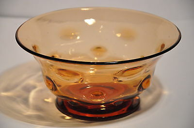 "Thomas Webb Old English Bullseye Golden Amber Art Glass 8"" Bowl Unsigned"