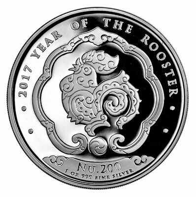 IN STOCK - 2017 Kingdom of Bhutan Lunar Rooster 1 oz 999 Silver BU Nu 200