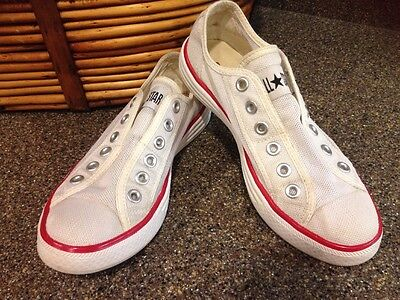 Converse All Star White No Lace Nylon Sneakers Shoes Unisex Mens 5 Womens 7 Used