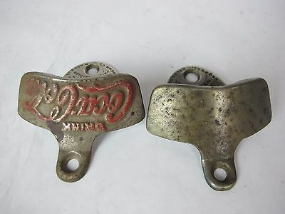 """2 Vintage Drink Coca-Cola Starr """"X"""" Old Cast Iron Wall Mounted Bottle Opener"""