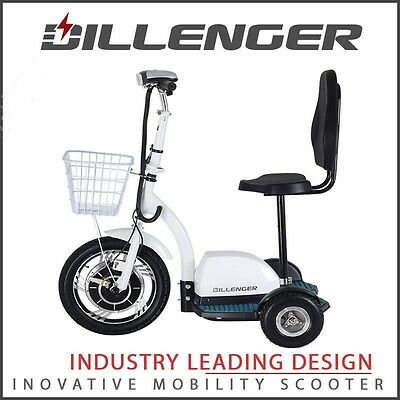 DILLENGER M5 White 3 wheel 25 kph Mobility Scooter Trike Collapsable Fast Cheap
