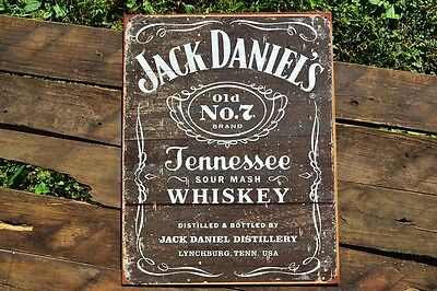 Jack Daniels Woodcut Weathered Old No. 7 Tin Metal Sign - Tennessee Whiskey