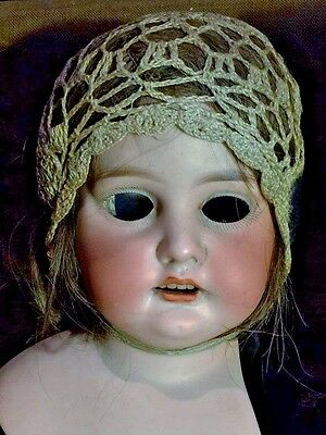 Haunting 19th Century Antique Eyeless German Doll Head with Real Human Hair