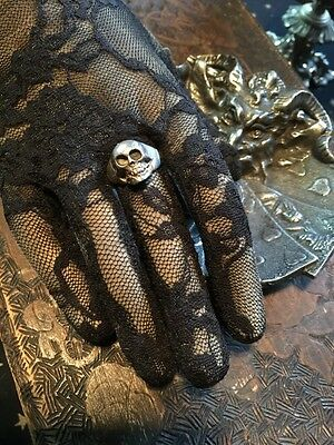 Antique Sterling Silver Skull Ring Antique Occult Witchcraft Wiccan Pagan Voodoo