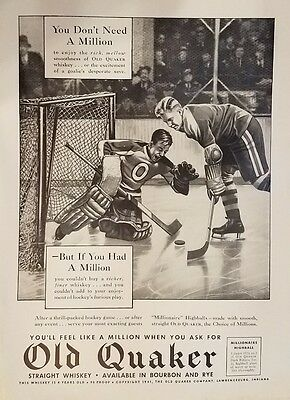 1941 OLD QUAKER WHISKEY Original Vintage Advertising Hockey Goalie Save Art