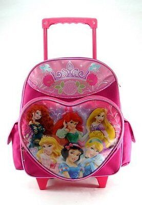 """Princess All Small Toddler 12"""" Cloth Backpack With Wheels - Heart/ Crown"""