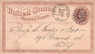 UX1, 1873 New York City Delivery Fancy Cancel Used F-VF US Postal Card