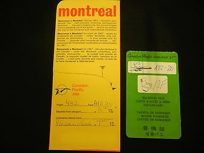 Canadian Pacific Jets Ticket Holder & boarding Pass 1967 Expo