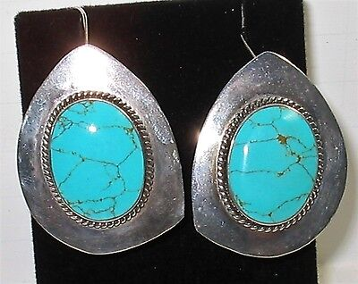 Gorgeous HUGE Vintage Sterling Silver Turquoise Inset Clip Dangle Earrings