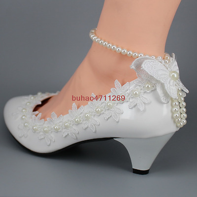 Wedding shoes Lace white ivory crystal Bride flats low high heel wedge size 5-10