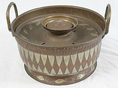 Antique Vintage Middle Eastern Brazier Brass Applied Copper Signed Stamped