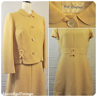 Vintage 60s Holt Renfrew Mod Yellow Wool Pan Collar Jacket & Dress Suit Jackie O