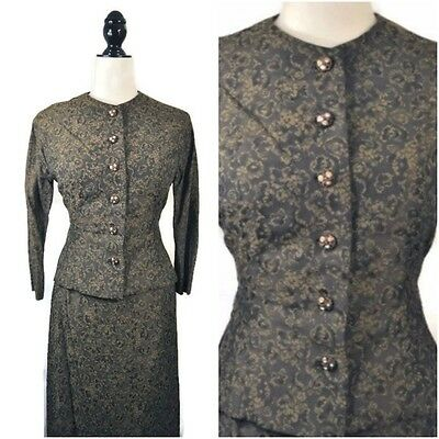 VTG 50s Pin Up Button Up Fitted Jacket Pencil Skirt Brocade 2 piece Set XS Small