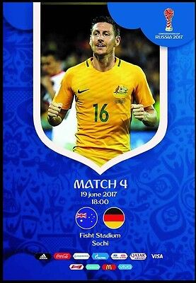 Programme Australia v Germany 19.06.2017 Confederations Cup. Unofficial