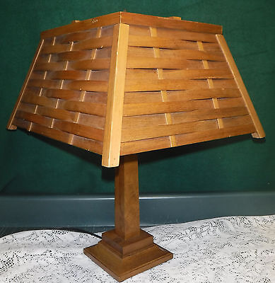 Vintage Mission Arts Crafts Wooden Table Lamp Woven Wood Shade