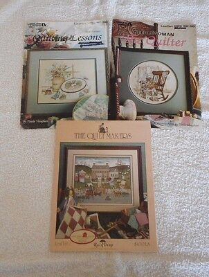 COUNTED CROSS STITCH CHARTS total of 3, Quilting Lessons, Quilter, Quiltmakers