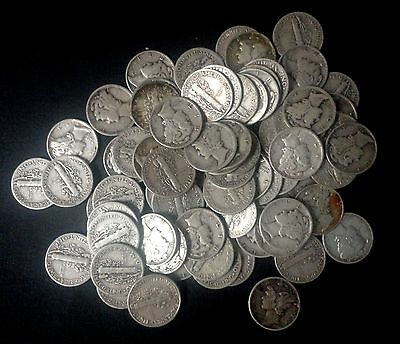 "LOT OF 10 MERCURY DIMES  CIRCULATED 90 % Silver US Coin ""TUCK RANDOM DATES"