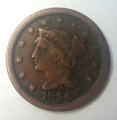 """1846 Philadelphia Mint  Braided Hair Large  Cent   #M103 """"TUCK""""   SMALL DATE"""