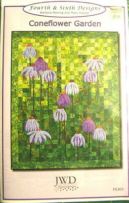 "Coneflower Garden Applique Quilt Pattern 51"" x 65"" Pieced & Applique"