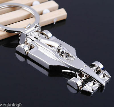 F1 Car Key Ring Chain Motor Silver Keychain Cute Lover Gift #