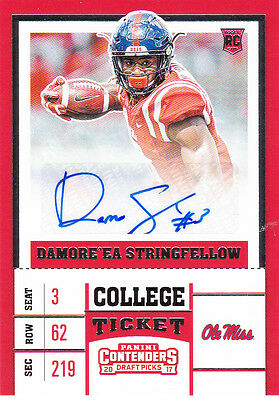 2017 Contenders AUTO Damore'ea Stringfellow ROOKIE TICKET AUTOGRAPH