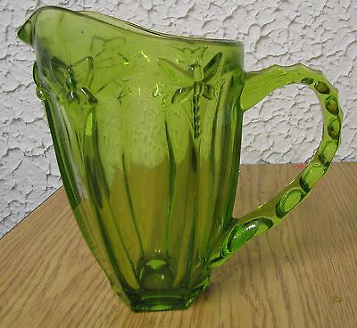 Vintage Lenox green glass Dragonfly & Bee pitcher