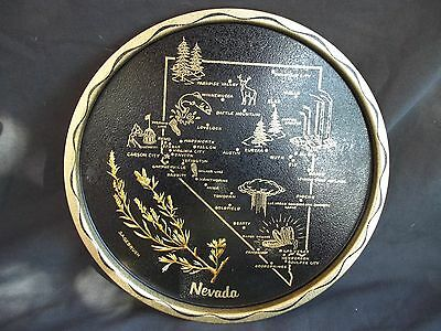 Old Vintage State Nevada Souvenir Metal Serving Tray ....11""