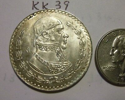 High Grade Genuine 1966 Silver Peso Mexico.(lot # kk39)
