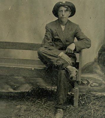 Tintype, Vintage Photo, Man in Hat on Bench