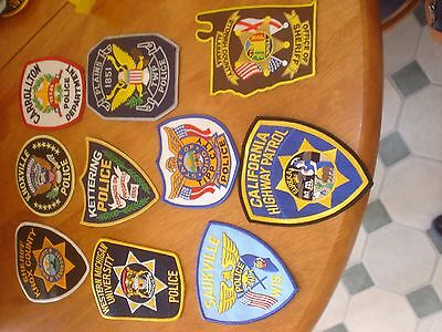 lot of 10 police patches cloth badges collectable new