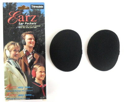 EARZ Bandless Fleece Ear Muffs w Thinsulate 1 Pair BLACK Unisex