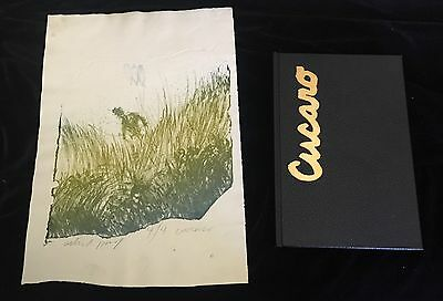 Pascal Cucaro 1960's Rare Artist Proof Woodblock Print with Book