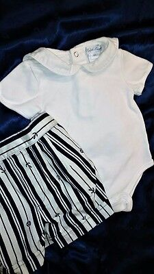 Baby outfit: Ralph Lauren 1-piece, 6 months & Navy-theme shorts, 3 - 6 mo