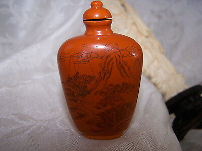 Chinese vintage  Snuff Bottle republic Engraved KWAN YIN, side 2 mountains