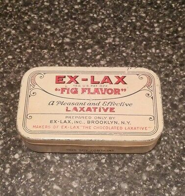 Vintage Advertising Tin Litho Can E-Lax Medicine Fig Flavor