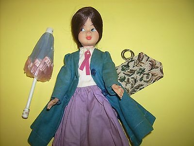 Vtg Mary Poppins doll Tammy look alike carpet bag coat umbrella 1960s Horsman