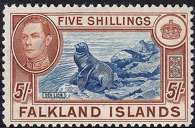 Falkland Islands 1938 KGVI 5/- Southern Sealion MH