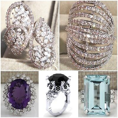 Women's Fashion White Sapphire Wedding Engagement 925 Silver Ring Size 6-10