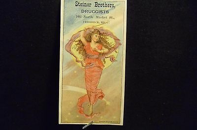 victorian trade card # 5882 - LADY IN PINK WITH BATON - BOOK MARK