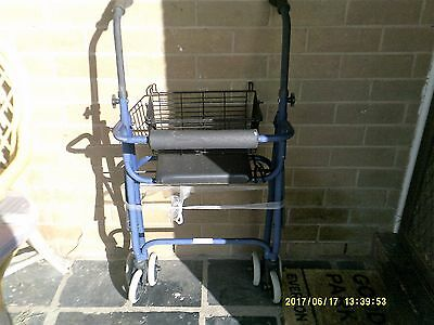 Mobility Walker Folding With Seat , Basket And Back Support Four Wheeler