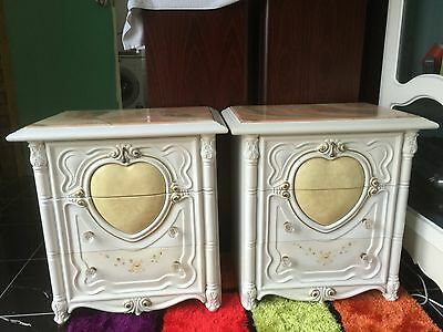 Two bedside tables shabby chic french prov white with hearts