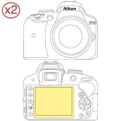Martin Fields Overlay Plus Screen Protector Nikon D3300 Twin Pack