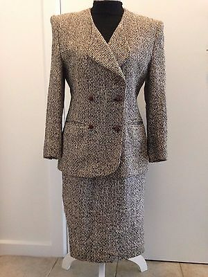 Womens 2 piece cotton D/breast black/taupe/cream text suit size 12 (as g as new)