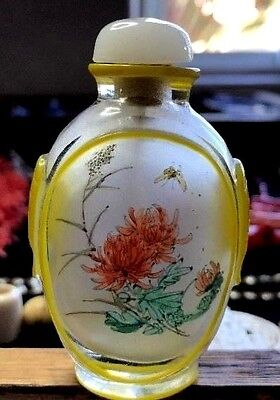 Antique Chinese Glass Snuff Bottle w/ Inside Hand Paint / Bone Spoon