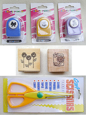 Assorted craft supplies ~ 3 punches, 2 stamps and deckle edge scissors