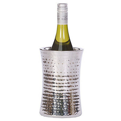 Hammered Stainless Steel Beer & Champagne Bottle Ice Bucket Concave Wine Cooler