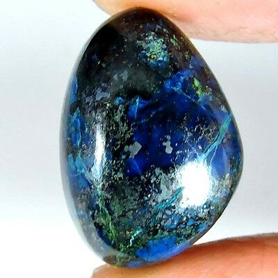 18.25cts NATURAL ROYAL AFRICAN BLUE AZURITE FANCY CABOCHON UNTREATED GEMSTONE