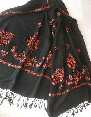 Gorgeous Vintage Hand Embroidered Black Kashmir Cashmere Wool Shawl