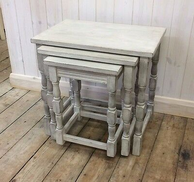 Painted Nest of 3 Tables Solid Wood Grey Shabby Chic Country